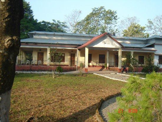 Inside the compound of the Buxa Jungle Lodge at Rajabhatkhawa.