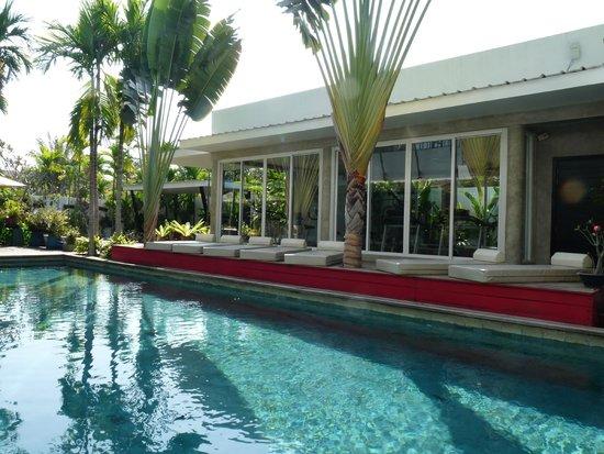 MEN's Resort & Spa - Gay Hotel: piscine, transats et derrière la salle de sport