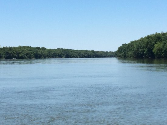 Historical White's Ferry: view of the Potomac River looking north from White's ferry about mid river