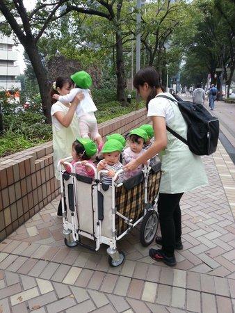 Hilton Tokyo : Random sighting of childcare staff and kids on street