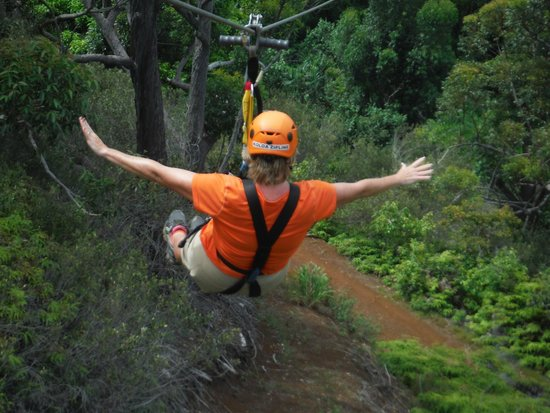 Koloa Zipline: Going hands-free is FUN!