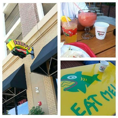 Fuzzy's Taco Shop: Great outdoor seating and flavored frozen margaritas! Tables have character...
