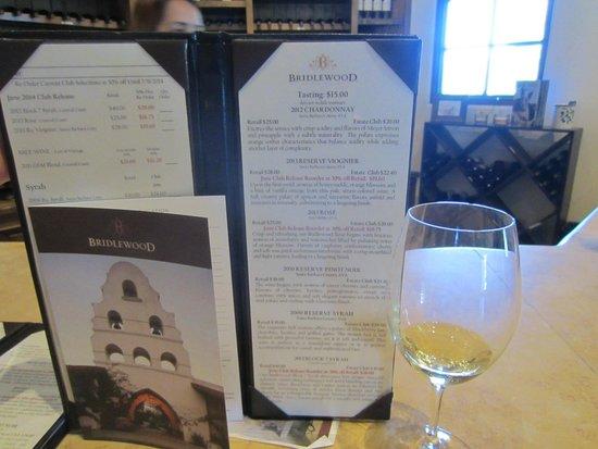 Bridlewood Estate Winery: wine menu