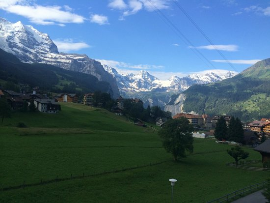 Hotel Berghaus: Morning view of the Jungfrau from the bedroom balcony.