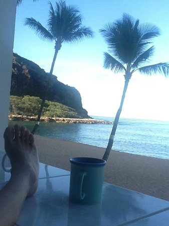 Makaha Beach Cabanas : View from our patio - lanai - Unit 206