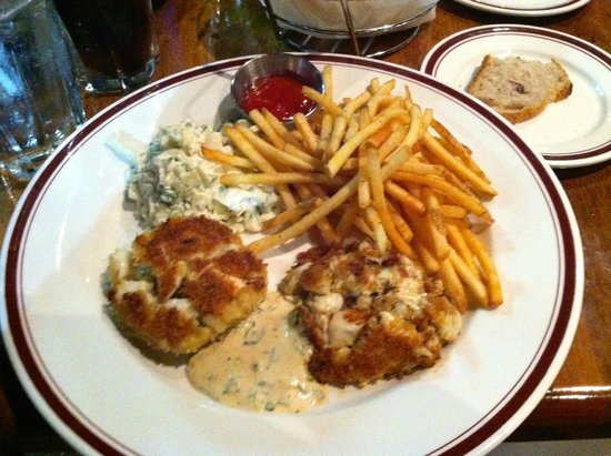 Carlyle : Meaty crab cakes, crispy, salty fries and excellent coleslaw
