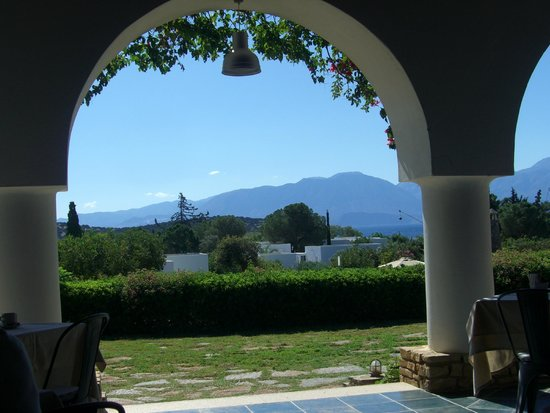 Minos Beach art hotel: view from restaurant