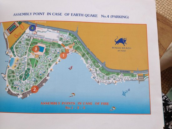 Minos Beach Art hotel: Map of Minos beach