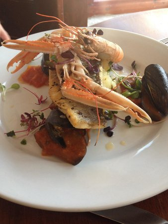The Pot Bistro: Sea bass, langoustine, mussels and ratatouille = amazing