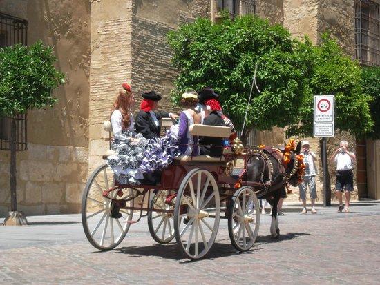 Historic Centre of Cordoba: Carrozza con donne in abito tradizionale per la Fiera di Maggio