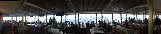 Schilthorn: View through the rotating restaurant towards Jungfrau.