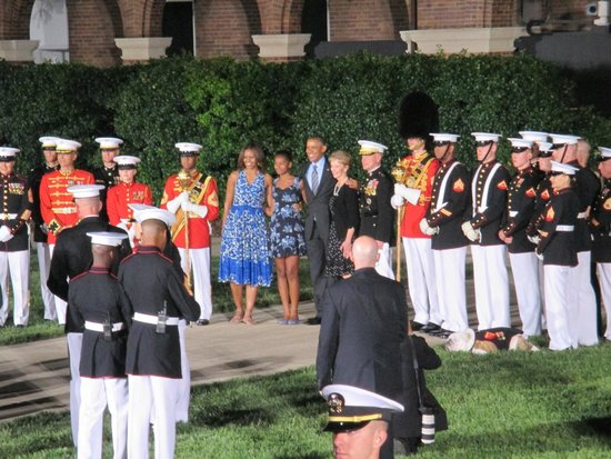 U.S. Marines Sunset Parade : Special guests, the President and First Lady!