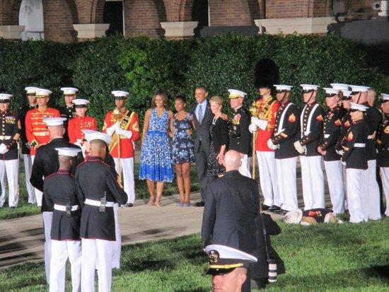 U.S. Marines Sunset Parade : The President and Mrs. Obama!