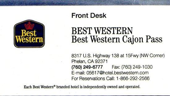 Best Western Cajon Pass: Business card