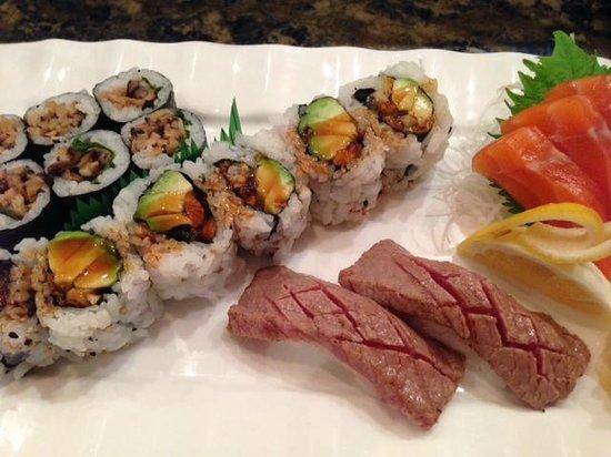 Oga's Japanese Cuisine : two types of sushi and sashimi