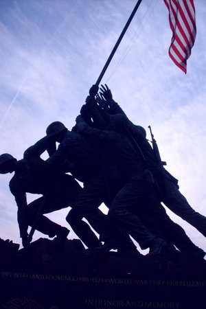 U.S. Marine Corps War Memorial: in silhouette