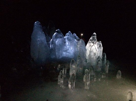 Lofthellir Lava Cave: The guide will bring colored lights in and light up the icicles, it's really pretty