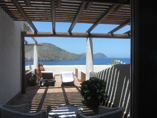 Therasia Resort : View from room showing terrace and Lipari Island