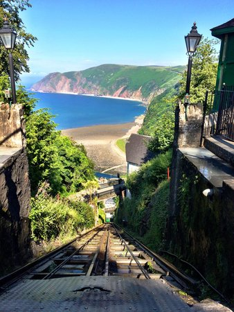 Riverside Cottage: View from the hill train between Lynmouth and Lynton