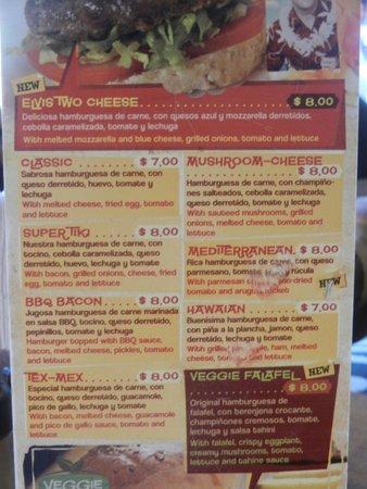 Tiki Limbo: Hamburger menu only here, not the full menu