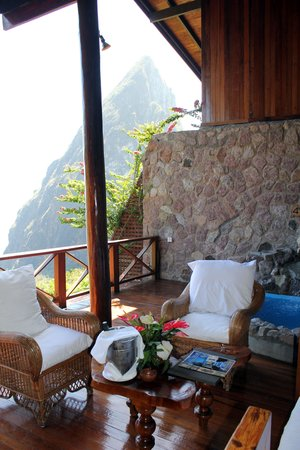 Ladera Resort: Living area of room J with Petit Piton mountain in background