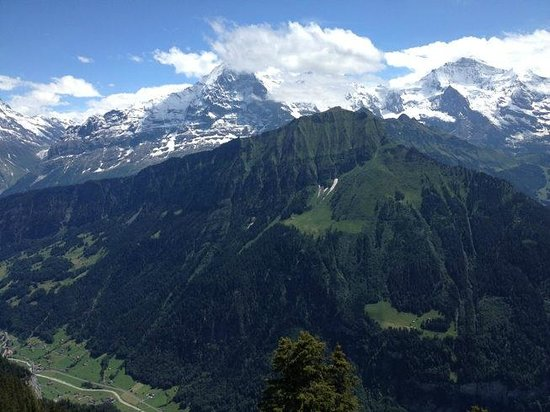Hotel Schynige Platte: Eiger (left), Moench (in clouds), and Jungfrau (right) from the hotel