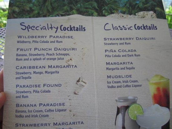 Old Dock House & Marina: Drink menu
