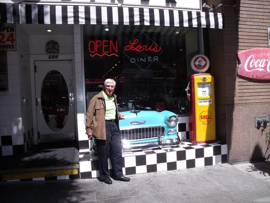 Muscle car in the front of Lori's diner