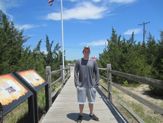 World War II Lookout Tower: My son with his BA in History--very happy