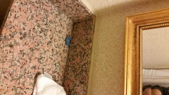 Best Western Hospitality Hotel & Suites : Tile spacer left in caulk