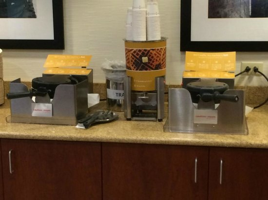 Hampton Inn White River Junction : Dual waffle makers help reduce the wait time for a waffle during breakfast.