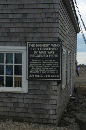 The Mount Washington Cog Railway : Highest Wind speed sign