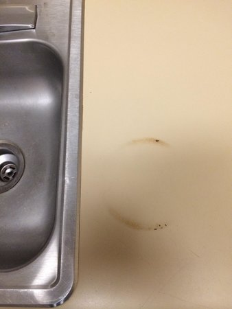 Extended Stay America - Kansas City - Overland Park - Metcalf: No glasses or cutlery in the kitchen but the burn marks were there