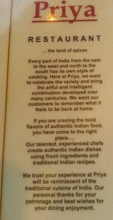 Priya Indian Restaurant: Satement