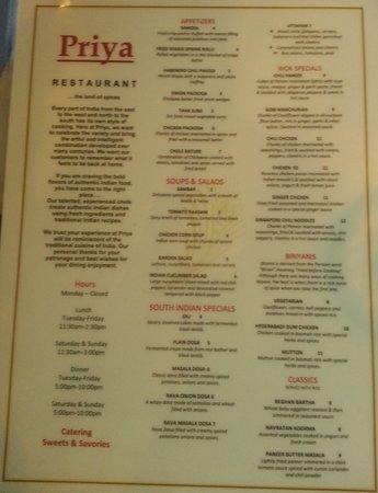 Priya Indian Restaurant: menu