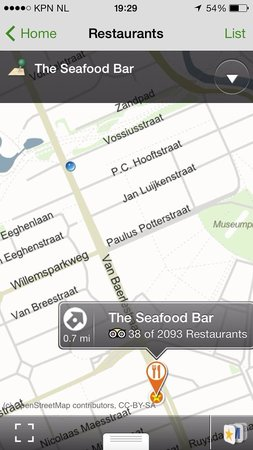 The Seafood Bar: Screen snapshot taken whole inside the restaurant. Pls rectify your map on the amsterdam city gu