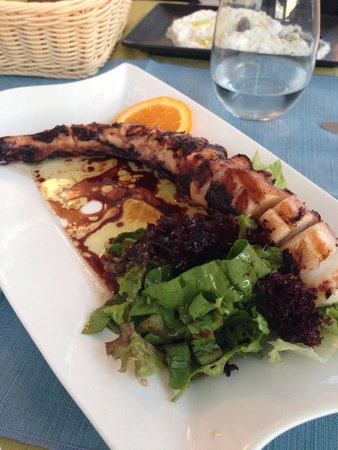 Pirouni : Grilled octopus with side salad