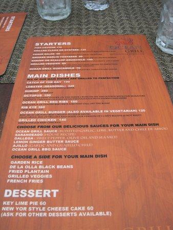 Ocean Grill Restaurant & Beach Club: The Menu