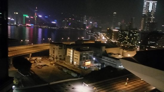 Harbour Plaza Metropolis: the nightly view to HK island from our hotel room (suite)