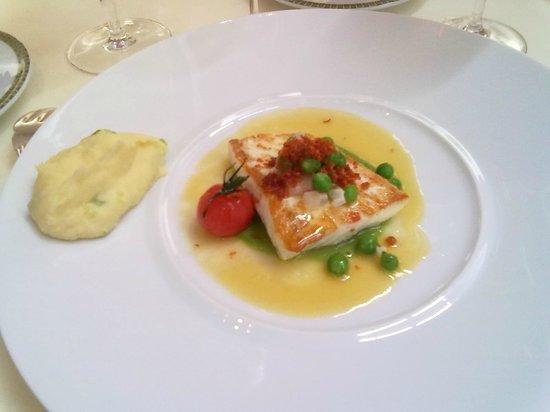Restaurant Patrick Guilbaud: Atlantic Halibut with Lemon Verbena Peas