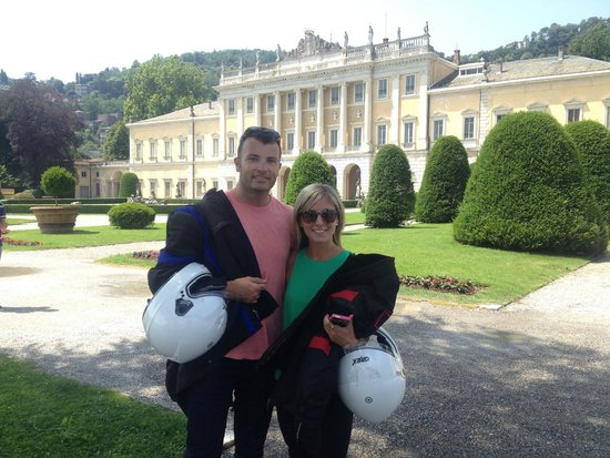 Lake Como Motorbike - Day Tours: Tim & Toula from Sydney in front of Villa Olmo