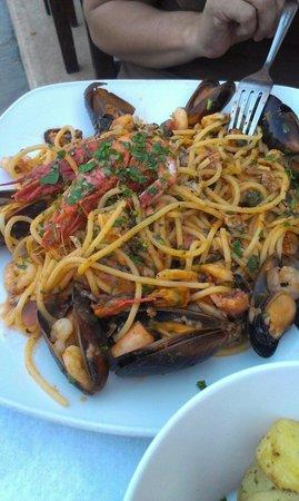Ta' Karolina: Spaghetti with seafood sauce.