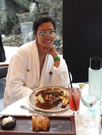 While dining at Lava restaurant