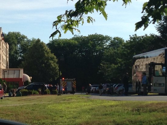 Fairfield Inn Plymouth Middleboro: The evacuation during our continental breakfast