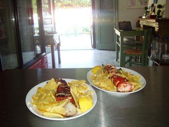 Pork and Chicken souvlakis!
