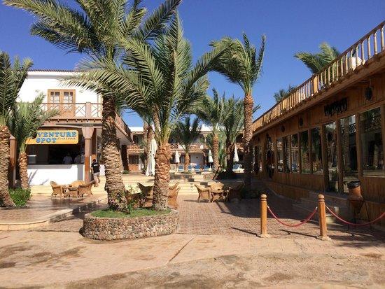 Acacia Dahab Hotel: Hotel entrance from boardwalk