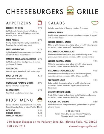 Cheeseburgers Grille: Our Menu - Page 1