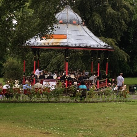Bedwellty House and Park: Band playing in the Bandstand on a Sunday afternoon, with spectators watching.