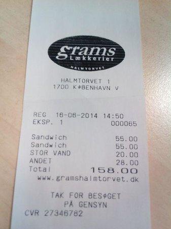 Grams Laekkerier: La cuenta