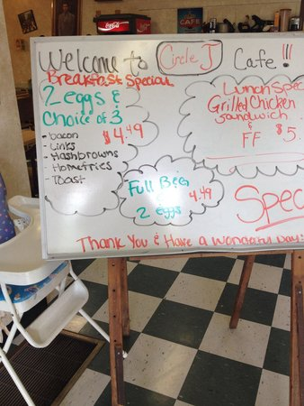 Circle J Cafe: Special board. Good price